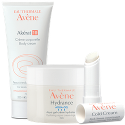 An Avene body cream tube, a gel and a cold cream lip balm.