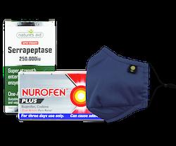 A box of Nurofen plus, a face mask and a box of Serrapeptase anti-inflammatory one a day pills.